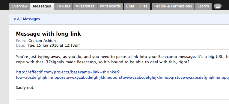 Basecamp's layout is affected by a link with long, unwrappable, link text